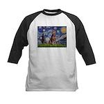 Starry / Red Doberman Kids Baseball Jersey