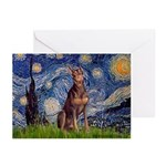 Starry / Red Doberman Greeting Cards (Pk of 10)