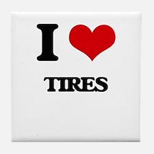 I Love Tires Tile Coaster