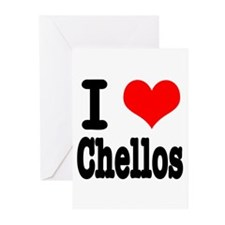 I Heart (Love) Chellos Greeting Cards (Package of