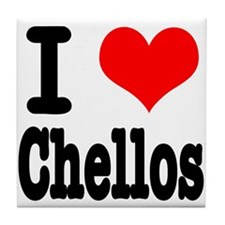 I Heart (Love) Chellos Tile Coaster