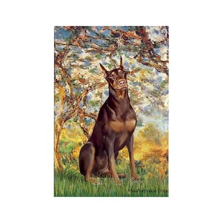 Spring / Doberman Rectangle Magnet (10 pack)