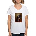 Lincoln's Red Doberman Women's V-Neck T-Shirt