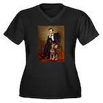 Lincoln's Red Doberman Women's Plus Size V-Neck Da