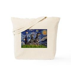 Starry Night / 2 Dobies Tote Bag