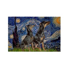 Starry Night / 2 Dobies Rectangle Magnet (10 pack)