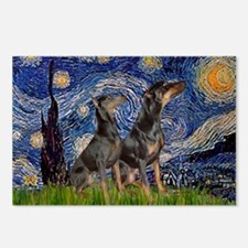 Starry Night / 2 Dobies Postcards (Package of 8)