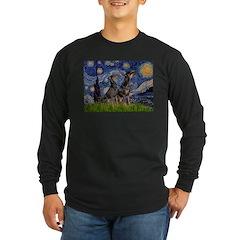 Starry Night / 2 Dobies Long Sleeve Dark T-Shirt
