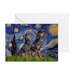 Starry Night / 2 Dobies Greeting Cards (Pk of 10)