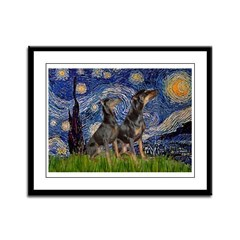 Starry Night / 2 Dobies Framed Panel Print