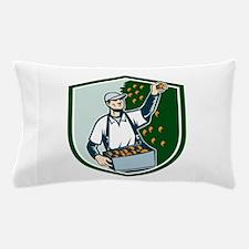Fruit Picker Worker Picking Plum Shield Pillow Cas