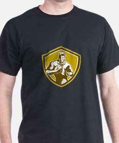 Rugby Player Running Fending Shield Retro T-Shirt