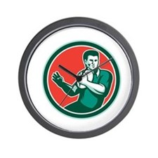 Rugby Player Ball Hand Out Circle Retro Wall Clock