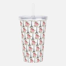 Floral Eiffel Tower Acrylic Double-wall Tumbler