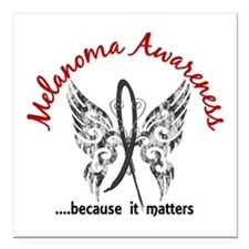 """Melanoma Butterfly 6.1 Square Car Magnet 3"""" x 3"""""""