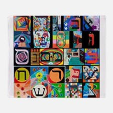 The Hebrew Alphabet Throw Blanket