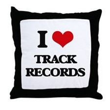 I love Track Records Throw Pillow