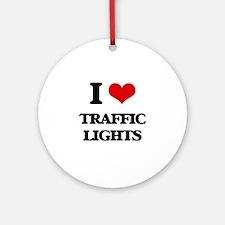 I love Traffic Lights Ornament (Round)