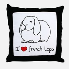 I Love French Lops Throw Pillow