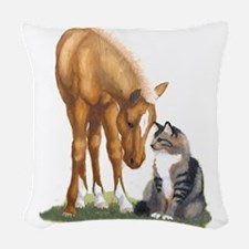 mini sorrel cat Woven Throw Pillow