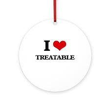 I love Treatable Ornament (Round)