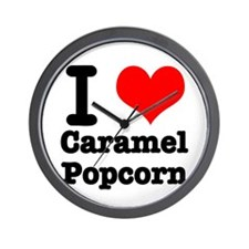 I Heart (Love) Caramel Popcorn Wall Clock