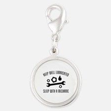 Keep Well Lubricated Silver Round Charm