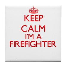 Keep calm I'm a Firefighter Tile Coaster