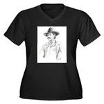 Old Time Lawman Women's Plus Size V-Neck Dark T-Sh