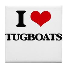 I love Tugboats Tile Coaster