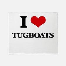 I love Tugboats Throw Blanket