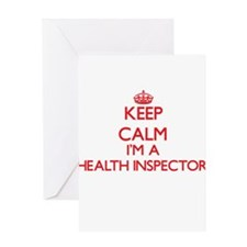 Keep calm I'm a Health Inspector Greeting Cards