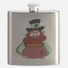 Leprechaun With Pot Of Gold Flask