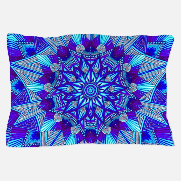 Blue and Purple Patterned Star Pillow Case