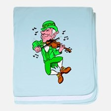 Leprechaun Playing Fiddle baby blanket