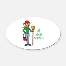 AT YOUR SERVICE Oval Car Magnet