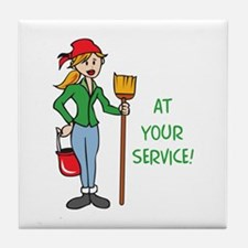 AT YOUR SERVICE Tile Coaster