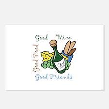 GOOD WINE FOOD FRIENDS Postcards (Package of 8)