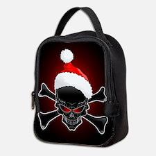 Christmas Santa Black Skull Neoprene Lunch Bag