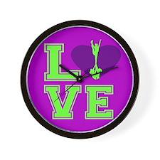 Purple and Green Cheerleader Wall Clock