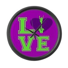 Purple and Green Cheerleader Large Wall Clock