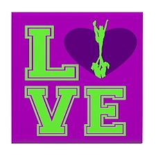 Purple and Green Cheerleader Tile Coaster