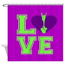 Purple and Green Cheerleader Shower Curtain