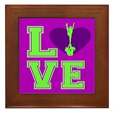 Purple and Green Cheerleader Framed Tile