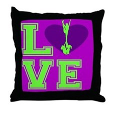 Purple and Green Cheerleader Throw Pillow