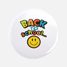 "SCHOOL SMILEY FACE 3.5"" Button"