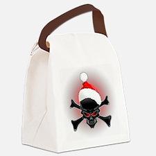 Christmas Santa Black Skull Canvas Lunch Bag