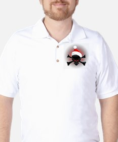 Christmas Santa Black Skull T-Shirt