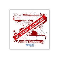 "New Girl Zombie Square Sticker 3"" x 3"""