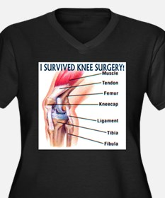 Knee replacement Women's Plus Size V-Neck Dark T-Shirt